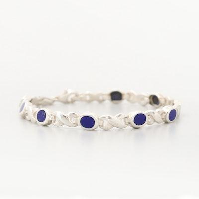 Sterling Silver Imitation Lapis Lazuli Bracelet