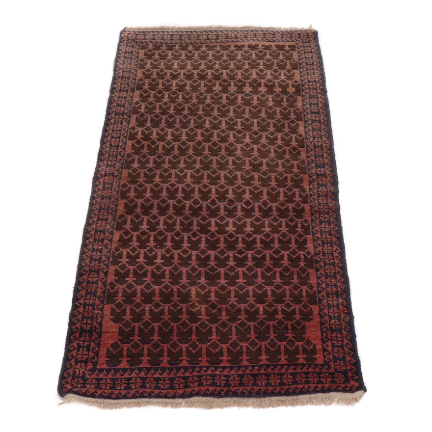 Hand-Knotted Afghan Baluch Wool Rug