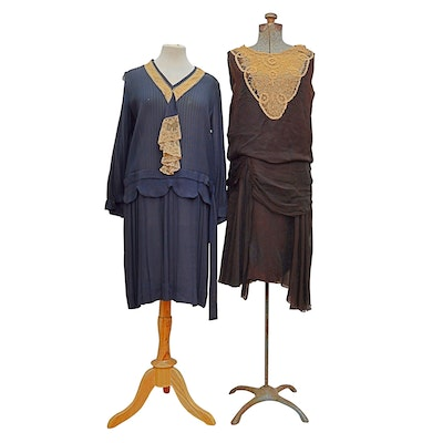 Silk and Lace Dresses, 1920s Vintage