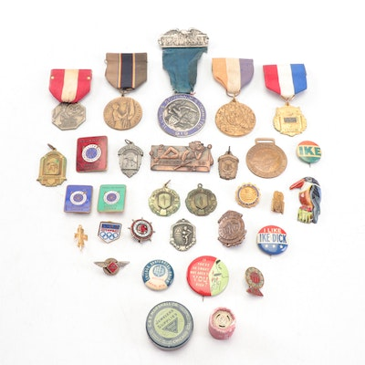 Antique and Vintage Pins including a 1926 Topsy Turvey Contest Pin