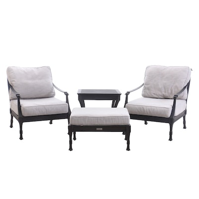 "Restoration Hardware ""Antibes"" Luxe Lounge Chairs, Side Table, and Ottoman"