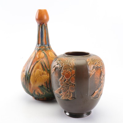 "Roseville Pottery ""Rosecraft Panel"" Vase with Bottle Vase, 1920s"
