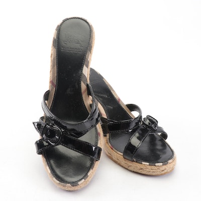 Burberry Black Patent Leather and Check Espadrille Wedges
