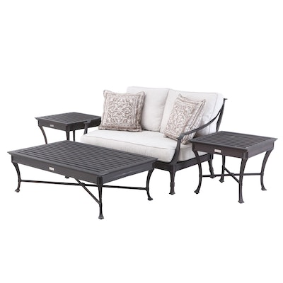 "Restoration Hardware ""Antibes"" Outdoor Loveseat, Side Tables, and Coffee Table"