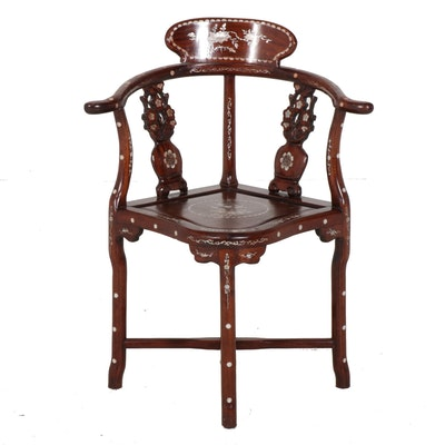 Mother of Pearl Inlay Chinese Corner Chair, Circa 1920's-1930's