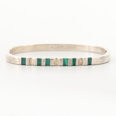Mexican Sterling Silver Malachite Hinged Bangle Bracelet