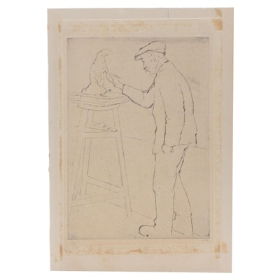 Emil Orlik Etching of Artist with Sculpture