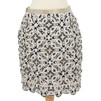 Oscar de la Renta Embroidered Silk Pencil Skirt with Beaded Embellishments