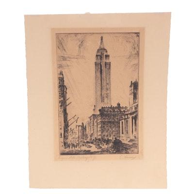 "E. Hansen Etching ""Empire State Building, N.Y."""