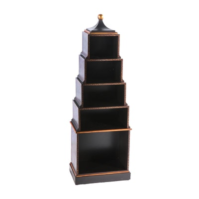 Painted Pagoda Style Shelf, Contemporary