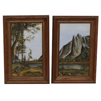 Mountainside Landscape Oil Paintings