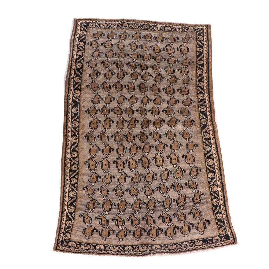 Hand-Knotted Persian Mir Boteh Wool Rug