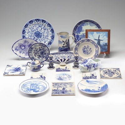 Blue and White Ceramic Tableware Including Delft