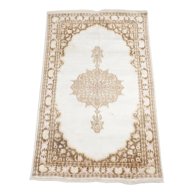 Hand-Knotted Pakistani Kashmir Artificial Silk and Cotton Rug