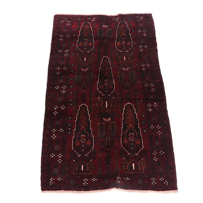 Hand-Knotted Afghani Baluch Wool Rug