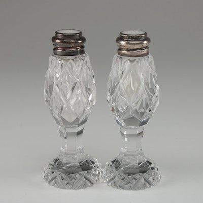 Cut Crystal Salt and Pepper Shakers with Sterling Silver Collars
