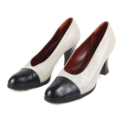 Prada Milano Cap Toe Pumps in Ivory Tone and Black Leather, Made in Italy