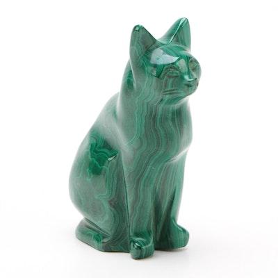 Carved Malachite Cat Figurine