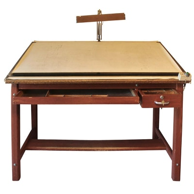 Drafting Table With Display Light, Mid Century