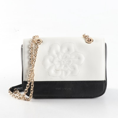 Anne Fontaine Black and White Leather Shoulder Bag with Florals