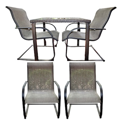 Outdoor Patio Wicker Dining Table and Metal Rocking Chairs