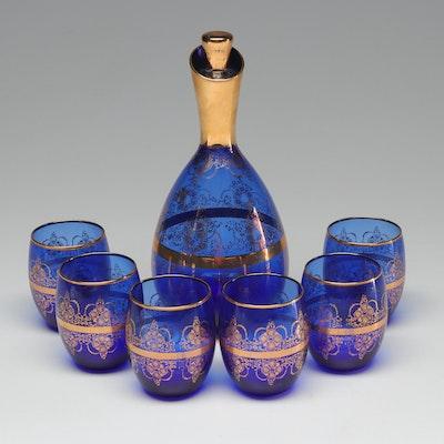 Muscarello Venezia Gold Rimmed Blue Glass Decanter and Glasses