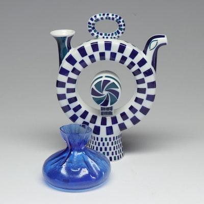 "Sargadelos ""Drinking Jug N1"" with Blue Glass Vase"