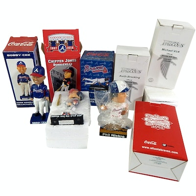 Atlanta Braves and Falcons Bobbleheads with Signed Phil Niekro