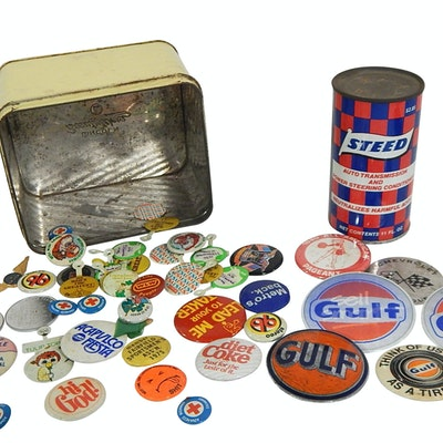Pinbacks, Lapel Pins, Gulf Oil Advertising, Steed Oil Can,Vintage