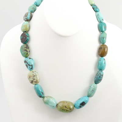 Southwestern Style Desert Rose Trading Co. Sterling Silver Turquoise Necklace