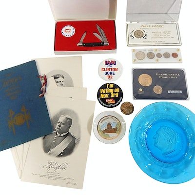Political Collectibles with Kennedy Coins, Roosevelt,Spanish-American War Photos