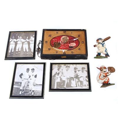 Baseball Memorabilia Including Burger Beer Clock, Metal Figures, and Prints