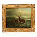 Late 19th Century Oil Painting of Deer in Landscape