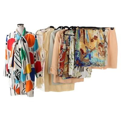 Yolanda Lorenté Hand-Painted Silk and Louis Féraud Skirt and Dress Sets, Vintage