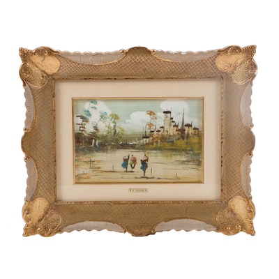 Oil Painting of Middle Eastern Scene with Figures
