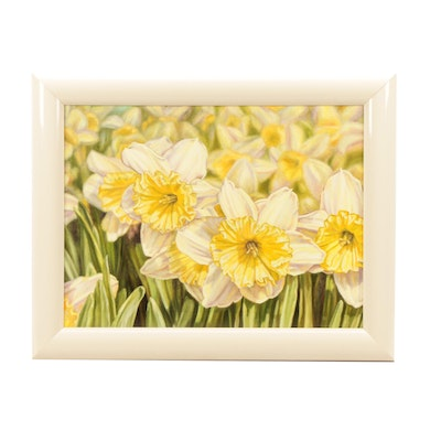 Photorealist Oil Painting of Daffodils