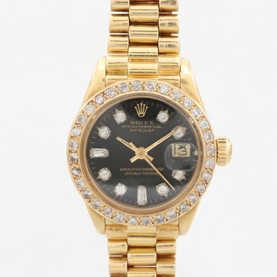 Vintage Rolex Datejust 18K Yellow Gold 1.05 CTW Diamond Wristwatch, 1979