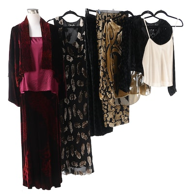 Marian Clayden and Susan Unger Flocked and Burnout Velvet Skirt and Pant Sets