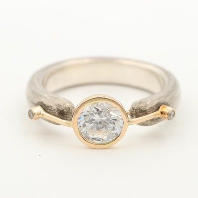 Sterling Silver Cubic Zirconia Ring with 14K Yellow Gold Accent