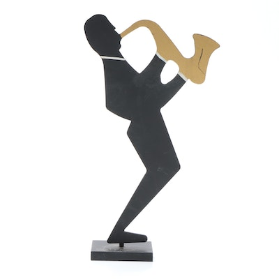 Claudine Buell Steel Sculpture of a Saxophone Player