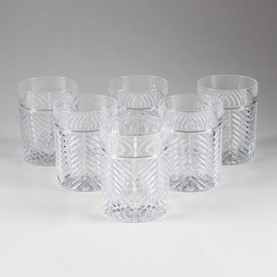 "Ralph Lauren Crystal ""Herringbone"" Old Fashioned Tumblers"