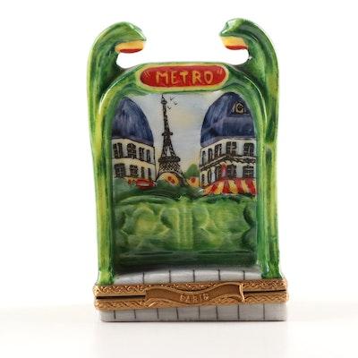 Parry Vieille Limoges Hand-Painted Porcelain Metro Trinket Box