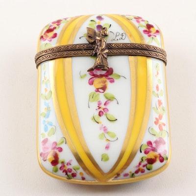 Limoges Hand-Painted Porcelain Floral Motif Trinket Box