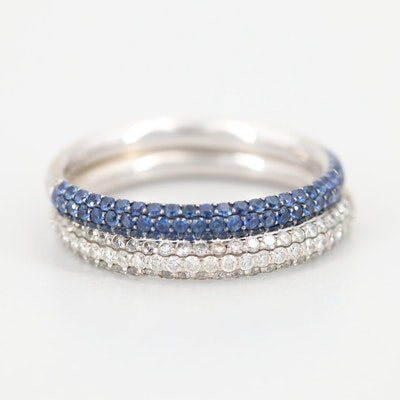 14K White Gold Diamond and Blue Sapphire Stack Bands