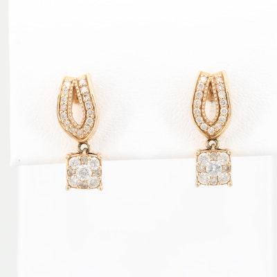 14K Yellow Gold Diamond Dangle Earrings