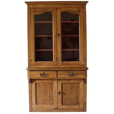 Late Victorian Style Oak and Chestnut China Cabinet, 1930s