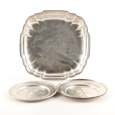 American Sterling Silver Plates and Trays Featuring Kirk and International
