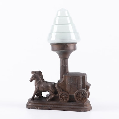 Cast Metal Stagecoach TV Lamp with Conical Glass Shade, Early 20th Century