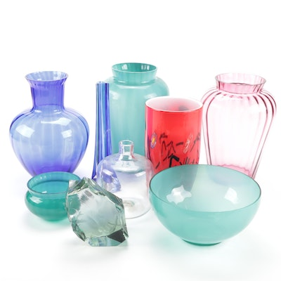 Ekenas Glass Sculpture and Colored Glass Vases