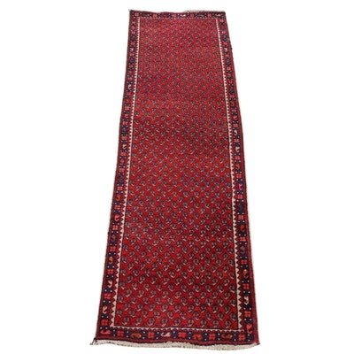 Hand-Knotted Persian Mir Boteh Wool Carpet Runner